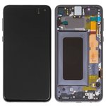 LCD Samsung G970 Galaxy S10e, (black, with touchscreen, with frame, Original (PRC), original glass)