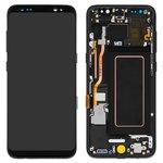 Дисплей для Samsung G950 Galaxy S8, чорний, із сенсорним екраном, з рамкою, Original (PRC), midnight Black, original glass