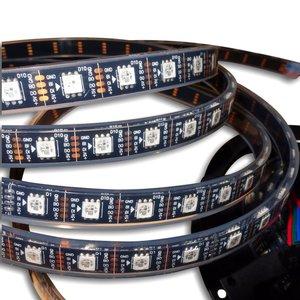 Светодиодная лента RGB SMD5050, WS2813 (черная, с управлением, IP67, 5 В, 60 диодов/м, 5 м)